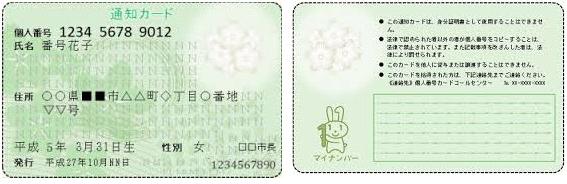 マイ ナンバー の 通知 カード